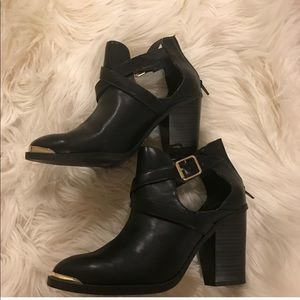 Rock & Republic Leather Buckle Booties Gold Accent